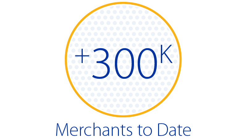 More than 300,000 merchants to date.